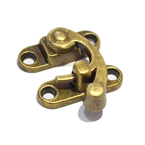 5 PCS Antique Hook Hasp Vintage Bronze Swing Lock Clasp Right Latch Closure with Screws for Suitcase Case Jewelry Wooden Boxes (Length:1-1/8', Height: 1-3/8')