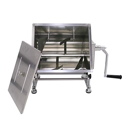 Commercial Stainless Steel 40-Pound 20-Liter Capacity Tilt Tank Manual Meat Mixers,(Mixing Maximum 30-Pound for Meat),Sausage Mixer Machine Meat Processing Equipment