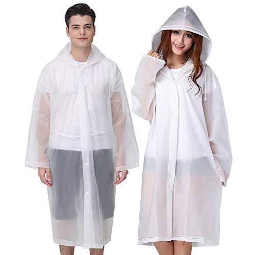Rain Ponchos for Adults Reusable, 2 Pcs Raincoats for Women Men with Hood