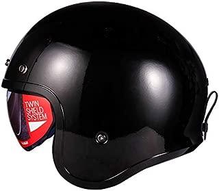 Mdsfe Casco moto casco retro casco aperto nostalgico retro 3//4 mezzo casco casco casque moto con 3 bottoni 7 X XXXL