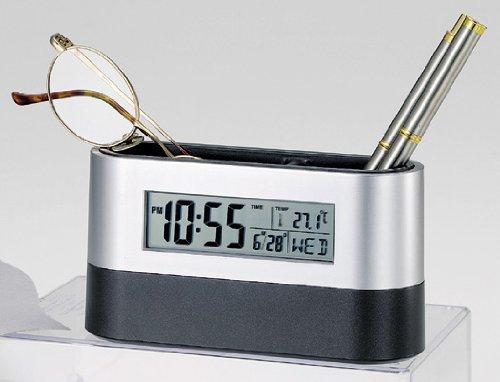 時計、カレンダー、温度計、アラーム、カウントダウンタイマー ■オーバルデスクスタンド