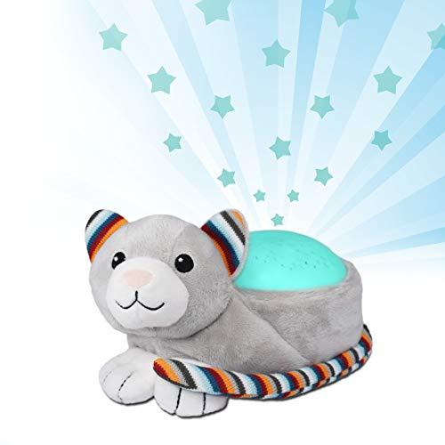 Zazu Kinder Sternenprojektor Nachtlicht mit Musik Kiki das Kätzchen grau
