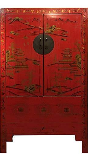 Fine Asianliving Armario de Boda Chino Antiguo Rojo y Oro Pi