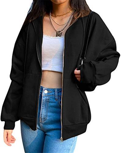 L&ieserram Damen Hoodie Jacke Oversize Vintage Reißverschluss Kapuzenjacke Zip Up Kapuzenpullover Sweatshirt mit Kapuze 90er Y2K E-Girl Übergangsjacke (A Schwarz, S)