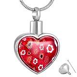 OPPJB Collar Conmemorativo De Cenizasflor Corazón Colgante Collar De Urna Recuerdo Conmemorativo Cremación Cenizas Joyería