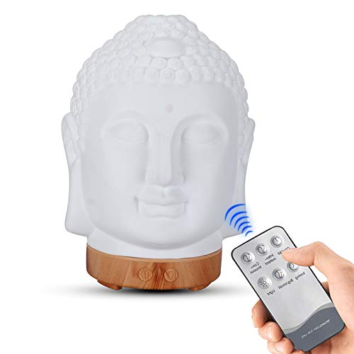 QIMO Essential Oil Diffuser Buddha Head,Humidifier Night Lamp Aromatherapy,Aroma Diffuser, 7 Color LED Lights, with Remote Control