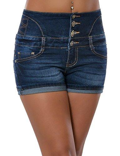 Damen Jeans Shorts Hot Pants Kurze Hose Hochschnitt Hoher Bund Stretch Denim No 15638 Blau 34 / XS