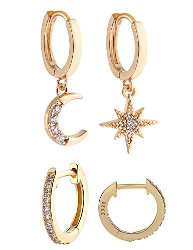 VAMEI 2 pares Pendientes de estrella Pendientes de aro de cristal cuelgan Joyas de mujer Pendientes de luna de estrella Pequeños aros Pendiente de gota Pendientes de boda de diamantes (Dorado)