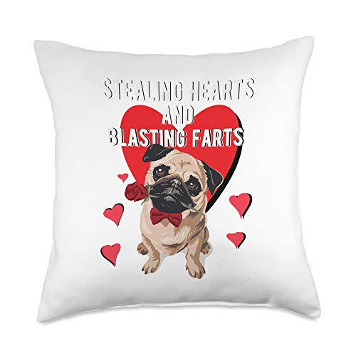 French Bulldog Valentine's Gifts Stealing Hearts Blasting Farts Valentine's Day Pug Dog Throw Pillow, 18x18, Multicolor