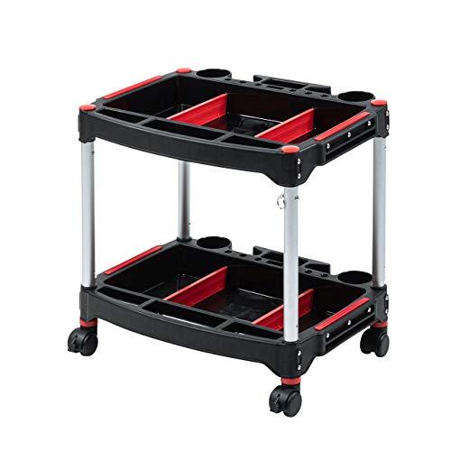 イーサプライ ツールワゴン 2段 キャスター 移動 高さ変更 耐荷重30kg 樹脂製 軽量 コンパクト 工具 台車 ツールカート EEX-TW06