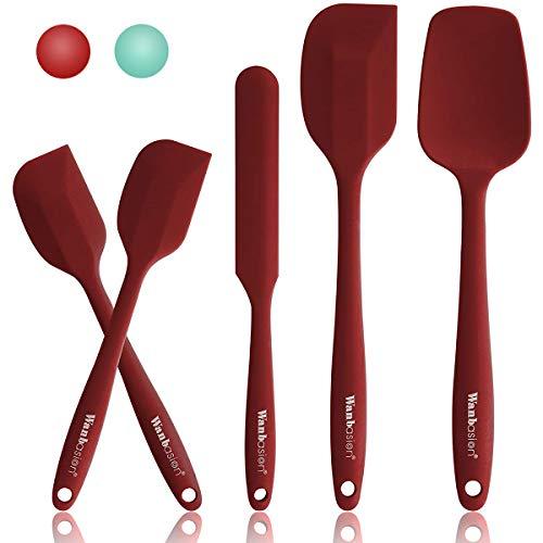 5 Piezas Rojo Espatula de Silicona para Cocina Repostería Goma, Juego de Espatula de Silicona para Cocina Resistente, Espatula de Silicona para Cocina Profesional Grande sin Bpa