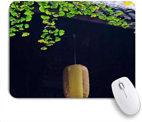 Gaming Mouse Pad rutschfeste Gummibasis, alte Laterne hängende Traufe Retro Ginkgobaum Haus mit Ziegeldach Nostalgische Kunst, für Computer Laptop Schreibtisch