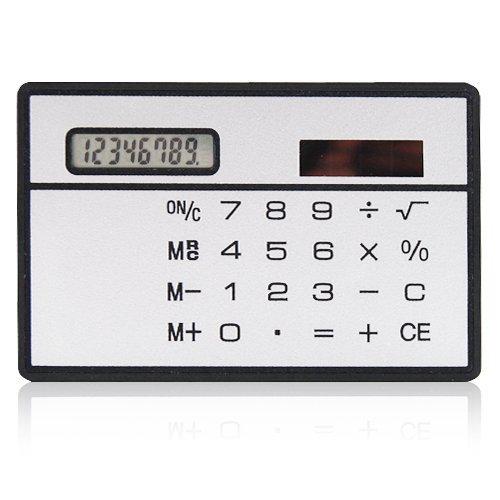 Mit Taschenrechner, solarbetrieben, Kreditkartenformat