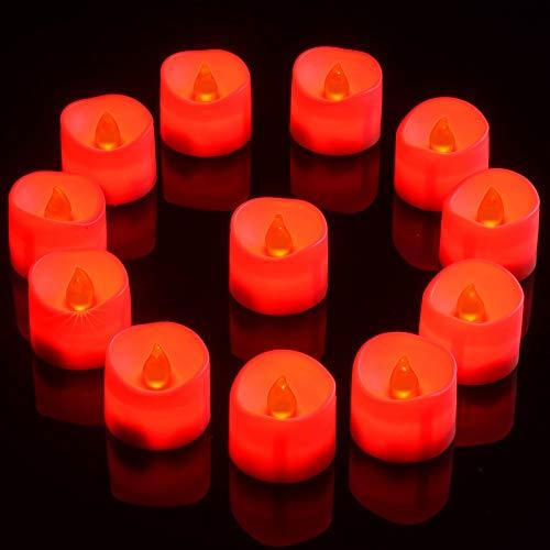 PChero Velas de té LED rojas, 12 unidades, funcionan con pilas, sin llama, con temporizador de 6 horas, luz votiva (1,42 x 1,42 pulgadas), para habitaciones, hogar, festivales o fiestas, color rojo