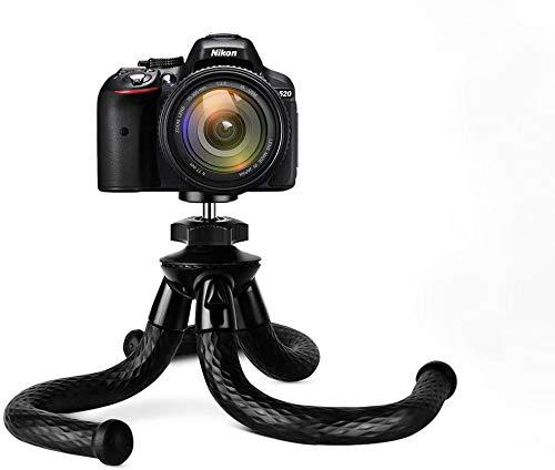 Kamerahandy Stativ, Flexibler Reisestativständer mit Handyklemme, kleinem Octopus-Stativ für Digitale Actionkamera Canon Nikon Panasonic Sony DSLR Gopro AKASO schwarz