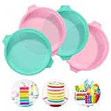 PHOGARY 8 inch Cake Tins for <span class='highlight'>Baking</span>, 4 PCS Silicone Cake Moulds Set, Layered Cake Mould for Making Rainbow Cake, Round Shape Pans
