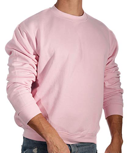 13MW Sudadera Básica Hombre   Estilo Clásico   Algodón   Cuello Redondo (Rosa, L)