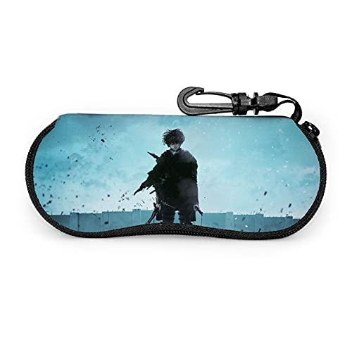 Estuche de gafas Attack on Titan con mosquetón, suave, portátil, con cremallera, flexible, ligero, 3,6 x 17 x 7,9 cm