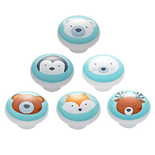6 Pezzi Cerámica Pomo de Armario Redondo Patrón de Animales de Dibujos Animados Tiradores de Muebles Pomo para Armario los Cajones del Tocador de la Habitación Infantil