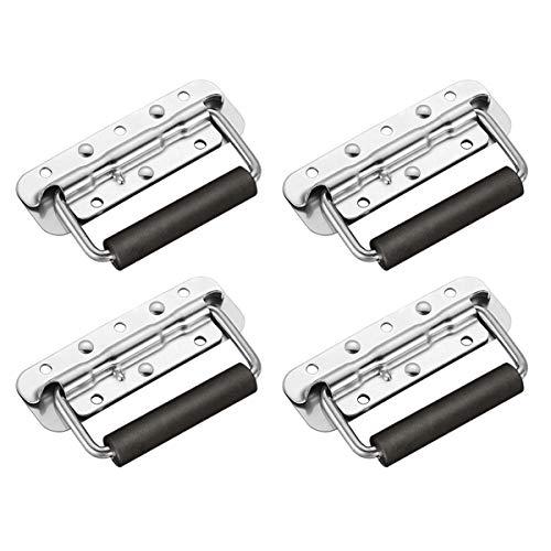 TSSS 4er Set Klappgriff Gefedert Kistengriff für Lautsprecherboxen Werkzeug Boxen - Tragfähigkeit 50KG- Deckfläche 14x4cm