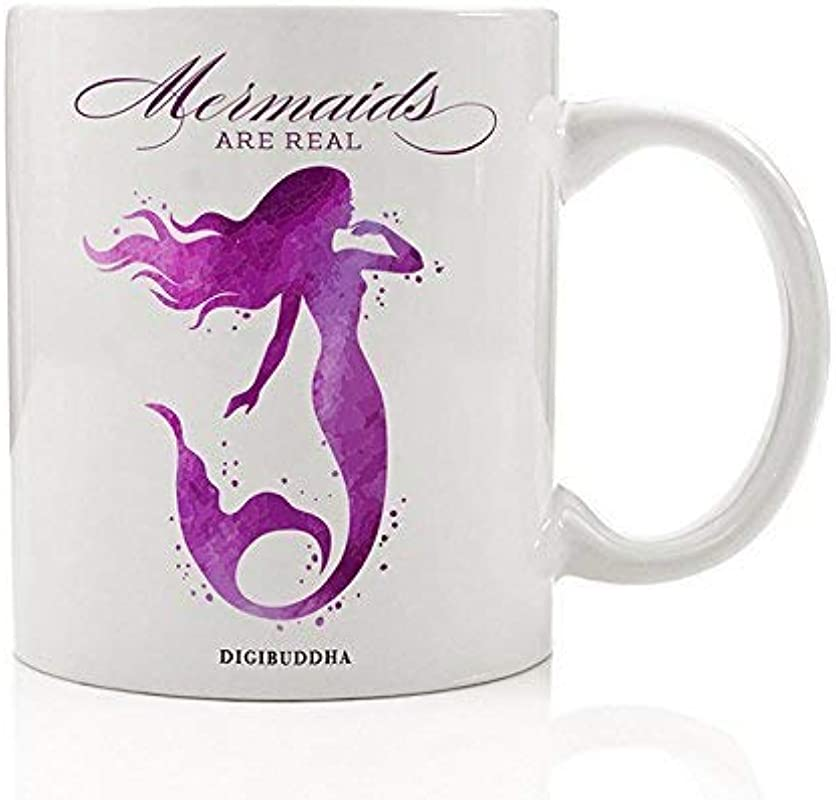 Purple Mermaid Gift Mug Mermaids Are Real Mythical Pretty Ocean Legend Cute Beach Lover Birthday All Occasion Present Daughter Mom Sister Niece Girl Student 11oz Coffee Tea Cup By Digibuddha DM0279
