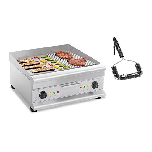 Royal Catering RCG 60GB SET Set Doppel Elektro Grillplatte mit Bürste 60 cm glatt/geriffelt 2 x 3.200 W 50 bis 300 °C Gastro Grill Grillbürste