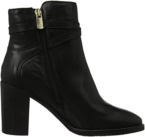 Tommy Hilfiger Damen TH Hardware Leather HIGH Bootie Stiefeletten, Schwarz (Black 990), 40 EU