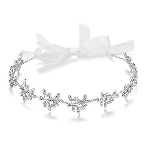 ArtiDeco - Diadema para novia, plateada, cristal, parpadeante, joya para el pelo, hecha a mano, vintage, para novia, boda, accesorios para fiesta Diseño 1 Talla única