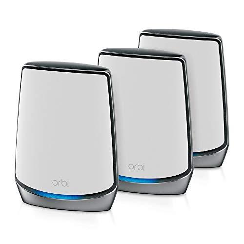 NETGEAR Orbi Wifi 6 Mesh RBK853, Router Wifi 6 + 2 Satelliti, Copertura Fino a 525 m2 e 60 Dispositivi, Velocità AX6000 Triband