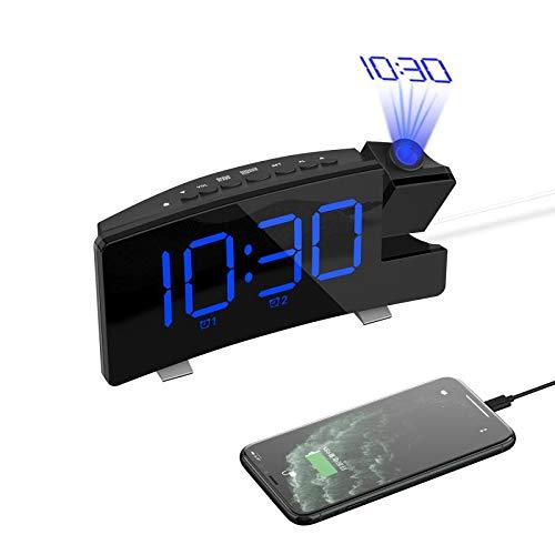 "BeauFlw Projection Alarm Clock,7"" Curved-Screen Large Digital Display,Adjust Brightness Automatically,Dual Alarm Clock with 2 Alarm Sounds, Projection Clocks with FM Radio,USB Phone Charger"