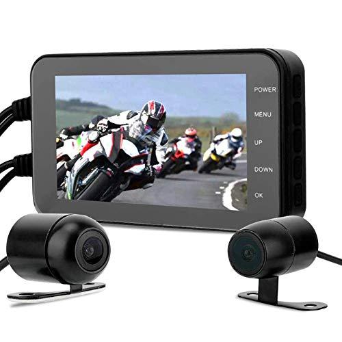 ALLWIN Leva Rociada Motocicleta 1080P,Grabador DVR Impermeable Motocicleta,con Pantalla Táctil 4 Pulgadas,WiFi,Sensor G,Detección Movimiento, Cámara Frontal Y Trasera,Grabadora Video Conducción,