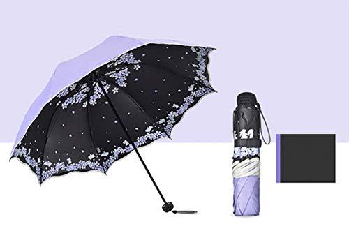 GLYHVXZ Sonnencreme-DREI-facher Regenschirm/Anti-UV-Regenschirm, Fast unattraktives Windmlast, automatisch offen/in der Nähe, Anti-Skid-Griff, einfach zu tragen,B