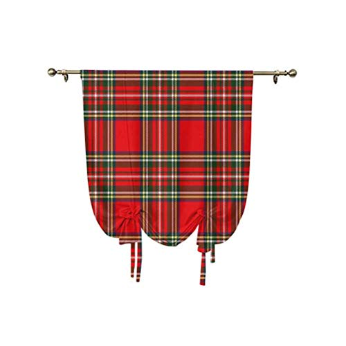 Red Plaid Tie Up Curtain Panels,European Western Culture Inspired Abstract Tartan Motif Vintage Classical Design Decorative Thermal Insulated Balloon Roman Shades,24x47 Inch,for Small Window/Kitchen M
