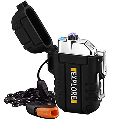 lcfun Lichtbogen Feuerzeug, Wasserdicht Winddicht Plasma-Feuerzeug USB Aufladbar Elektronisches Feuerzeug, mit Notfall-Pfeife für Camping, Abenteuer, Survival Taktische...