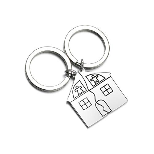 Zysta 2pcs Portachiavi in Acciaio Inox per Coppia Ciondolia Forma di Casa Puzzle Sweet Home Regalo per Lui/Lei -Non Personalizzare