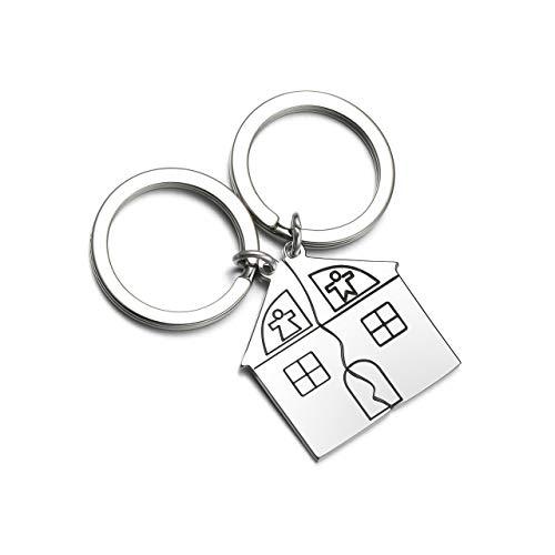 Zysta - 2 llaveros de acero inoxidable para parejas, colgantes con forma de casa y Puzzle Sweet Home, regalo para él/ella de San Valentín Non Può Personalizzare