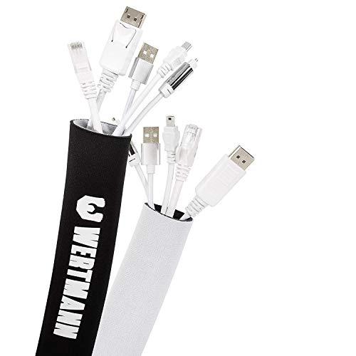 Wertmann [3m] Guaina per Cavi neoprene con diametro regolabile I Guaina Raccogli Cavi TV Elettrici per Scrivania I Guaina Copricavi TV bianco e nero