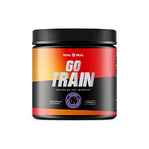 GO Train Pre Workout for Men & Women - All Natural, Vegan, Paleo, Keto, Gluten Free, Dairy Free, Soy Free, Non GMO - Clean Energy/Focus - Pump/Performance - Nootropic Infused with Ashwagandha (Acai)