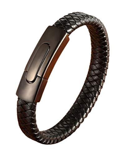 Kirei Paris Bijoux - Pulsera de piel auténtica para hombre, cierre magnético de acero inoxidable, elegante y estilo, idea regalo (tejido – negro)