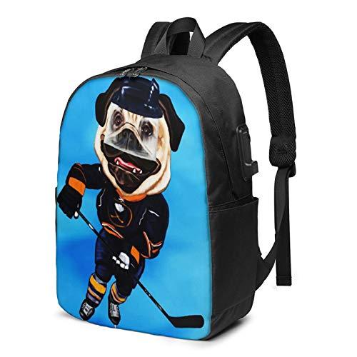 Laptop Rucksack Business Rucksack für 17 Zoll Laptop, Eishockey Mops mit Skates Stick Schulrucksack Mit USB Port für Arbeit Wandern Reisen Camping, für Herren Damen
