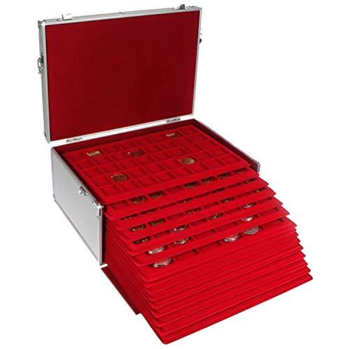 Münzen-Koffer GIGANT: Münzkoffer mit 15 Einsätzen für über 500 St. Verschiedene Münzen