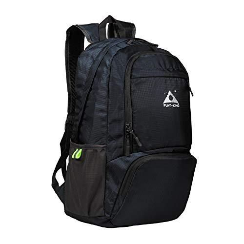 Mochila plegable de nylon ligera impermeable mini viaje señoras mochila deportes al aire libre camping senderismo bolsa plegable, Black (Negro) - yuery-WYCAVA