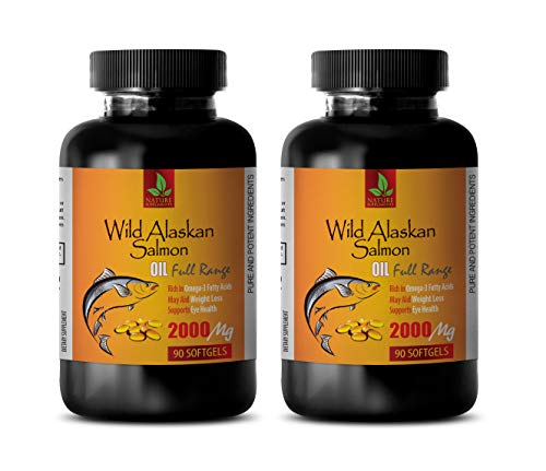 Brain Function and Focus Pills - Wild Alaskan Salmon Oil 2000 mg - Rich in Omega 3 Fatty ACIDS - Fish Oil with epa and dha - 2 Bottles 180 Softgels