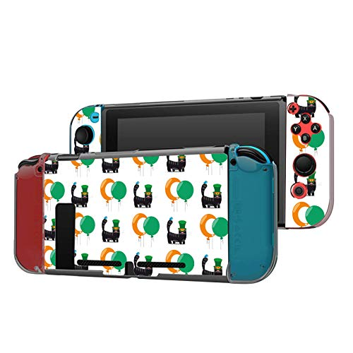 Dockable Case Compatible with Nintendo Switch Console and Joy-Con Controller, Patterned ( Celtic Irish Cat with Green Hat and Balloon ) Protective Case Cover with Tempered Glass Screen
