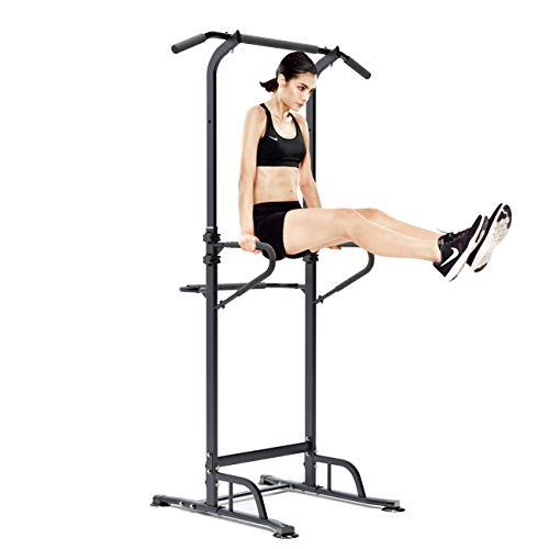 SogesPower Pull Up Dip Station Power Tower Height Adjustable Multi-Function Workout Dip Station for Home Gym Strength Training Fitness Workout Station Pull Up Bar Tower, Black, SPPS-BB002-CA