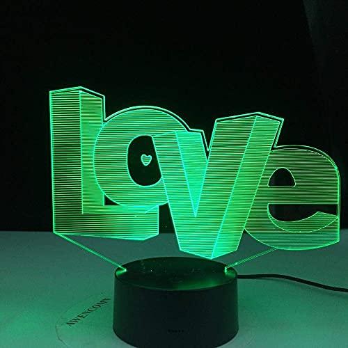 AMOR letras 3D luz nocturna ilusión creativa decoración decoración iluminación para niños para niños y amantes de nuestras cosas