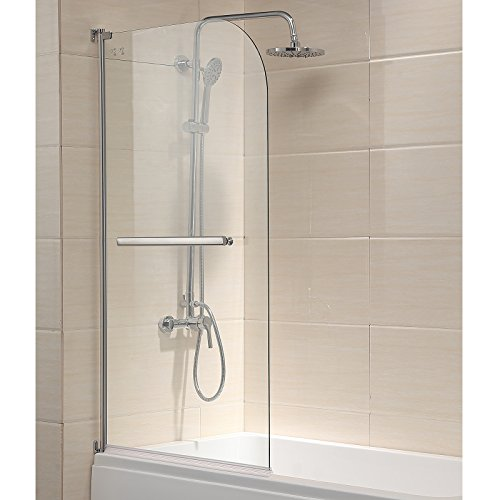Mecor Shower Door, 55'X31' Glass Enclosure Hinged Bathtub Door Frameless 1/4' Clear Glass Over 180° Pivot Radius Chrome Finish