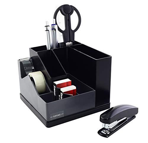 Exerz Organizer da scrivania/Portapenne/Scrivania ordinata/Rotazione a 360° tra cui: nastro adesivo con dispenser, forbici, pinzatrice, punti metallici, penne, righello, gomma (Grigio)