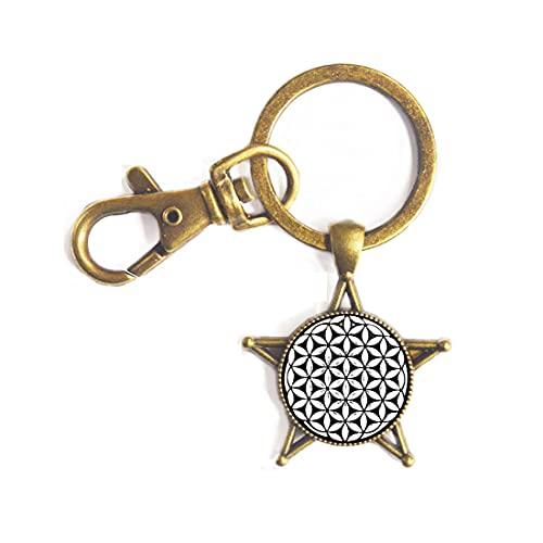 Llavero con forma de flor de la vida de semilla de la vida con diseño de mandala hexagonal, geometría sagrada