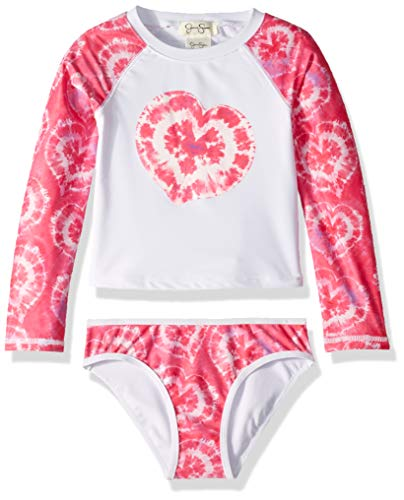 Jessica Simpson Girls' Little 2-Piece Rashguard and Bikini Bottom Set, Fuchsia Tiedye, 5